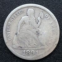 USA 1891 O SEATED LIBERTY DIME NEW ORLEANS SILBER SELTEN 1769