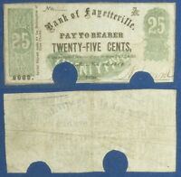 OBSOLETE CURRENCY: 25 CT. BANK OF FAYETTEVILE 1862 ONONDAGA COUNTY NY
