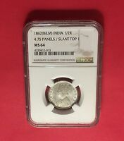 INDIA  1862B&M SILVER 1/2 RUPEE  4.75 PANELS/SLANT CERTIFIED BY NGC MS64.