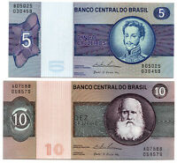 BANKNOTE BRASIL 5 AND 10 CRUZEIROS 1970'S   NEW