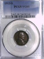 1913 S  LINCOLN WHEAT CENT PCGS VG 08 28698168