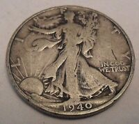 1940 S WALKING LIBERTY HALF DOLLAR COIN 90 SILVER SHIPS FREE