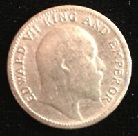 EDWARD VII SILVER QUARTER RUPEE 1904   FAIRLY HIGH GRADE   FROM USA