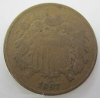 1867 EARLY COPPER TWO CENT COIN 123A