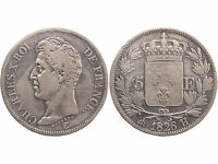 FRANCE 5 FRANCS ARGENT CHARLES X 1826 H TTB/VF FRENCH SILVER COIN