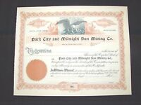 1900'S PARK CITY AND MIDNIGHT SUN MINING COMPANY STOCK CERTIFICATE UTAH NEW