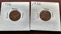 1936 LINCOLN WHEAT CENT TWO COINS