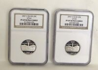 2   2007 NGC S SILVER PF 69 ULTRA CAMEO QUARTERS UTAH ONE SILVER ONE NOT