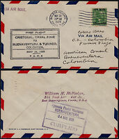 USA 1935 - 1ST FLIGHT AIR MAIL COVER CANAL ZONE TO BUENAVENTURA COLOMBIA
