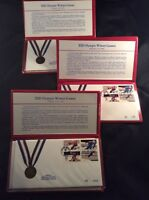 3 SETS OF OFFICIAL FIRST DAY OF ISSUE, 1980 WINTER OLYMPIC STAMP CACHETS
