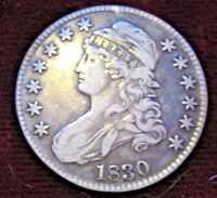 1830 CAPPED BUST HALF DOLLAR / GREAT DETAIL AND COLOR  XF NO PROBLEMS