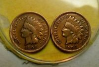 INDIAN CENT PAIRS 1907   1908    NICE DETAILS
