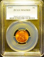 PCGS 1957 P  LINCOLN CENT CERTIFIED MS 65 RD  NO SPOTS SERIAL NUMBERS VARY