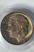 1957 D 10C ROOSEVELT DIME  PCGS MS66   2 SIDED AWESOME COLOR