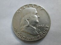 1951 P FRANKLIN HALF DOLLAR 90 SILVER VF NOT CLEANED NO DAMAGED SURFACES