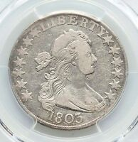 1803 PCGS F15 FINE DRAPED BUST SILVER HALF LARGE 3 12 ARROWS O-101 TYPE COIN