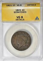 1821 CORONET HEAD LARGE CENT ANACS VG-08 DETAIL