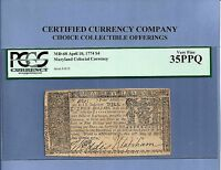 1774 $ 4 MARYLAND COLONIAL NOTE HISTORY MD 68 PCGS FINE 35 PPQ