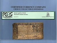 1774 $ 4 MARYLAND COLONIAL NOTE HISTORY MD 68 PCGS FINE 15