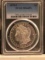 1879-S $1 MORGAN SILVER DOLLAR PCGS MINT STATE 64PL BEAUTIFUL MIRRORS-BTR DATE- COIN.