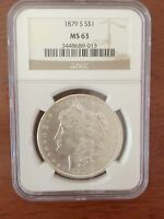 NGC 1879-S MORGAN SILVER DOLLAR $1 MINT STATE 63   PCGS EQUAL BRIGHT WHITE LOOK
