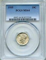 1935 MERCURY DIME PCGS MS64   10C 81825209