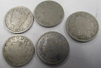 1901, 1902, 1903, 1904 & 1905 V LIBERTY NICKELS AVG CIRC