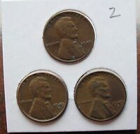 1949 P D S WHEAT PENNIES LOT OF 3  VF PICTURES 1,2 3