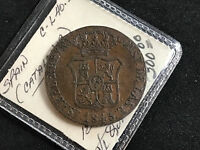 1843 SPAIN CATALONIA 6 QUARTOS COPPER