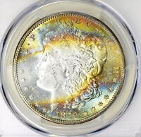 1879-S RAINBOW MONSTER TONED PCGS MINT STATE 65 MORGAN SILVER DOLLAR BU COLORS PQ