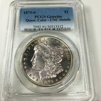 1879 S MORGAN SILVER DOLLAR GENUINE QUEST COLOR UNC. DETAILS