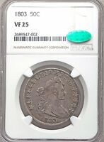 1803 DRAPED BUST SILVER HALF DOLLAR NGC  CAC VF25  FINE TYPE COIN OVERTON