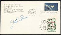 SPACE COVER - SIGNED BY JOHN GLENN, 1962 PROJECT MERCURY FDC, DOUBLE CANCELS