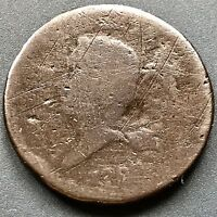 1793 HALF CENT LIBERTY CAP FLOWING HAIR WREATH 1/2 CENT  FIRST YEAR 4123