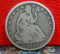 VERY NICE EARLY DATE 1858 O NEW ORLEANS MINT SEATED LIBERTY SILVER HALF DOLLAR