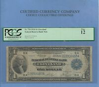 1918 $ 1 CLEVELAND OHIO FR 720 FEDERAL RESERVE NOTE PCGS FINE 12