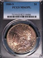 1880 S $1 MORGAN SILVER DOLLAR MS63PL PCGS