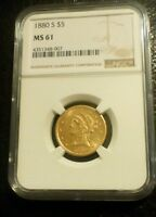 1880 S LIBERTY HEAD HALF EAGLE $5 GOLD NGC AU 53 COIN
