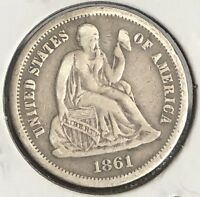 1861 S SEATED LIBERTY DIME 10C SAN FRANCISCO  DATE  GRADE 4571