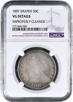 1807 DRAPED BUST SILVER HALF DOLLAR 50C - NGC VG DETAILS -
