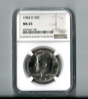 1984 D  KENNEDY HALF DOLLAR MS 65 GRADED BY NGC