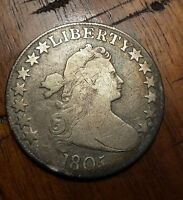 1805 DRAPED BUST HALF DOLLAR FIFTY CENT PIECE  AMERICAN COIN