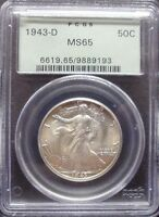 1943-D  WALKING LIBERTY HALF PCGS MINT STATE 65  OGH