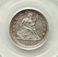 1862 PCGS AU53 SEATED LIBERTY QUARTER   RIM TONED WITH CLEAR WHITE REMAINDER