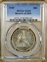 1840 REVERSE OF 1839 PCGS VF35 SEATED HALF DOLLAR