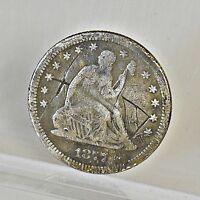 1877 LIBERTY SEATED QUARTER   VG DETAILS 6792