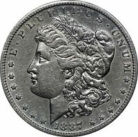 1887-S MORGAN SILVER DOLLAR, EXTRA FINE  DETAILS, CLEANED