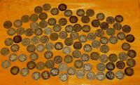ROLL 100 SILVER BARBER DIME 1898   1916 DIMES 10C VG AND BETTER $10.00 FACE 90