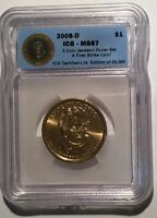 2008 D ANDREW JACKSON $1 FIRST STRIKE ICG MINT STATE 67  SHIPS FREE