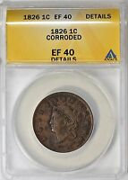 1826 CORONET HEAD LARGE CENT ANACS EXTRA FINE -40 DETAILS